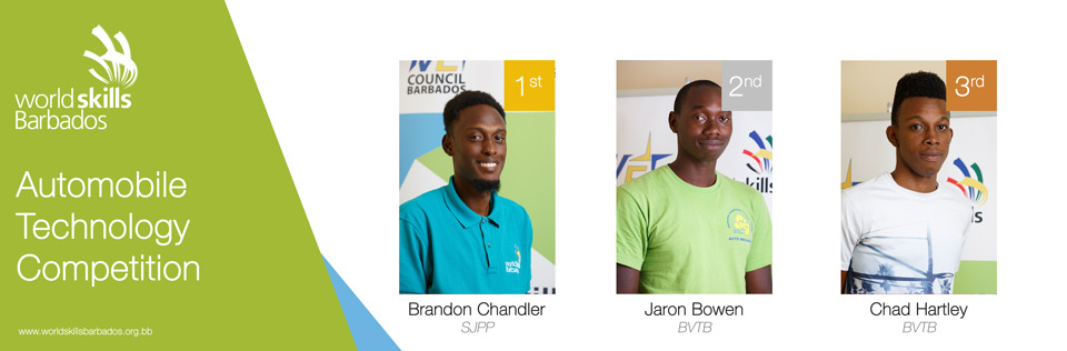 Winners of Automoobile Technology in WorldSkills Barbados Competition 2018