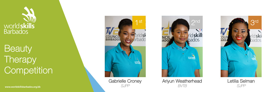 Winners of Beauty Therapy in WorldSkills Barbados Competition 2018