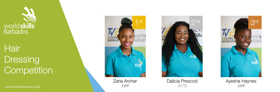 Winners of Hairdressing in WorldSkills Barbados Competition 2018